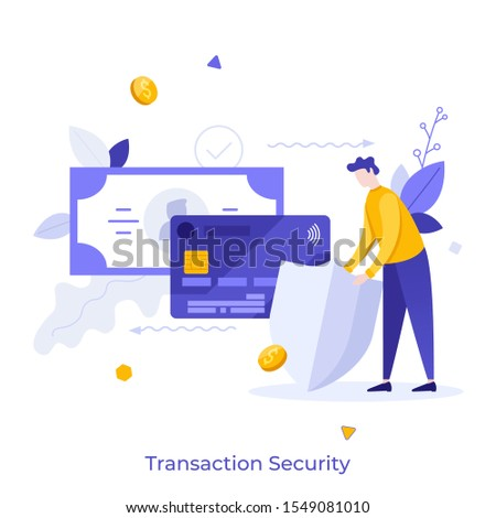Man protecting bank card and banknote with shield. Concept of security of transaction, safety or protection of electronic funds transfer, secure payment service. Modern flat vector illustration.