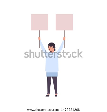 man protester holding blank placards male activist with empty sign banners protest demonstration strike concept flat full length