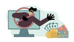 man pulls his hand to a wallet, money, credit cards. Fraudster. Money fraud. Deceiver. Vector isolated illustration on white background.