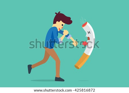 man punching a cigarette to