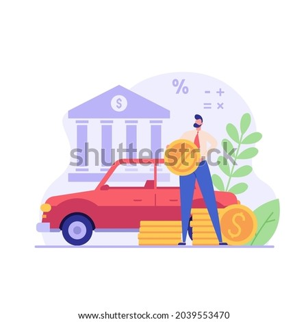 Man purchases car with bank loan. Happy client buying new automobile on motor credit. Concept of auto credit, car loan, auto finance, banking products. Vector illustration in flat for web banners, UI Foto stock ©