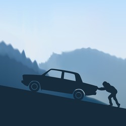 Man pushes the car to the mountain