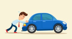 Man pushing a broken car. Car run out of fuel. Vector illustration, flat, cartoon style, isolated background.