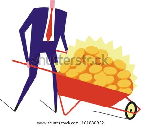 Man pushing a wheelbarrow full of shiny gold coins