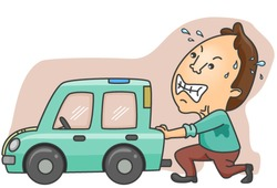 Man pushing Broken Car - Vector