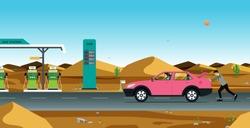 Man pushing car to gas station in desert. Disabled vehicle on roadway.