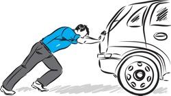 man pushing car vector illustration