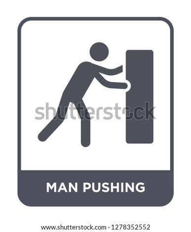 man pushing icon vector on white background, man pushing trendy filled icons from Behavior collection, man pushing vector illustration
