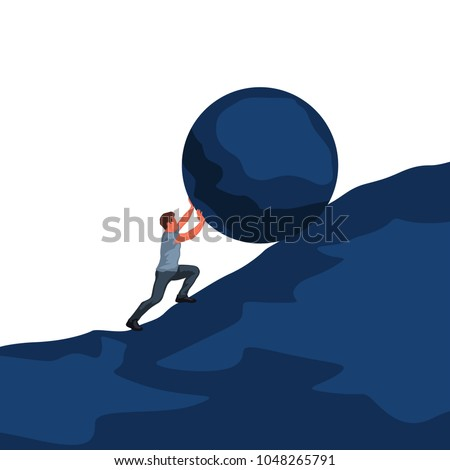 man pushing up hill