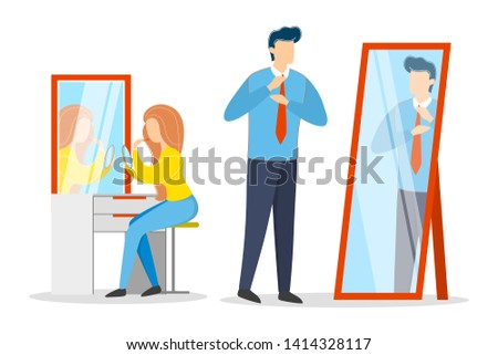 Man put on his neck tie. Business clothes, blue shirt and black trousers. Guy dressing. Woman applying makeup. Isolated vector illustration in cartoon style