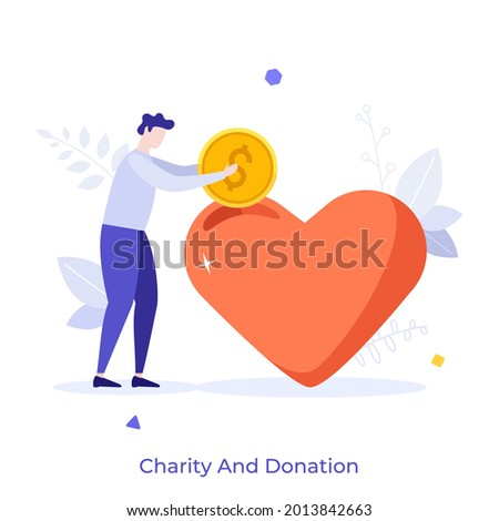 Man putting coin into heart. Concept of charity, donation, financial assistance, aid or support, philanthropy, donating money to nonprofit organization or foundation. Modern flat vector illustration. Photo stock ©