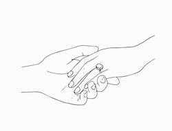man putting engagement  ring on woman hand, outdoor. marriage proposal. Graphic vector illustration. Line art, Sketch. Wedding ring. Hand draw vector illustration