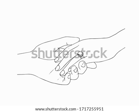 man putting engagement  ring on woman hand, outdoor. marriage proposal. Graphic vector illustration. Line art, Sketch. Wedding ring. Hand draw vector illustration ストックフォト ©