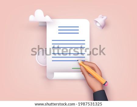 Man putting esignature into legal document. Contract-document signing. 3D Web Vector Illustrations.