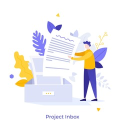 Man putting letter or mail into box. Concept of business project inbox, mailbox, email, electronic address for communication or correspondence. Modern flat colorful vector illustration for banner.