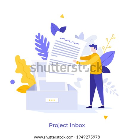 Man putting letter or mail into box. Concept of business project inbox, mailbox, email, electronic address for communication or correspondence. Modern flat colorful vector illustration for banner. Сток-фото ©