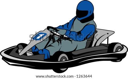man racing go kart