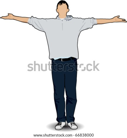 man raising his hands