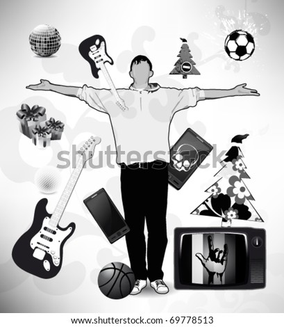 man raising his hands  and designer collection icons. - stock vector