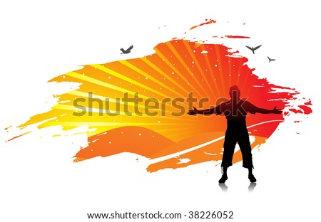 man raising his hands with sun set background, Vector illustration.