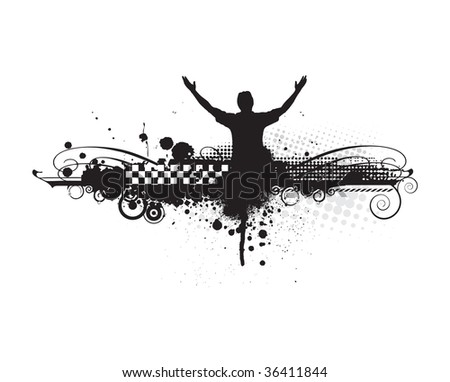 man raising his hands with urban background,vector illustration