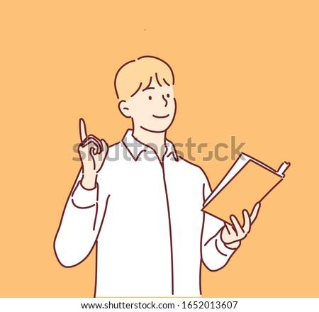 man reading a book hand drawn