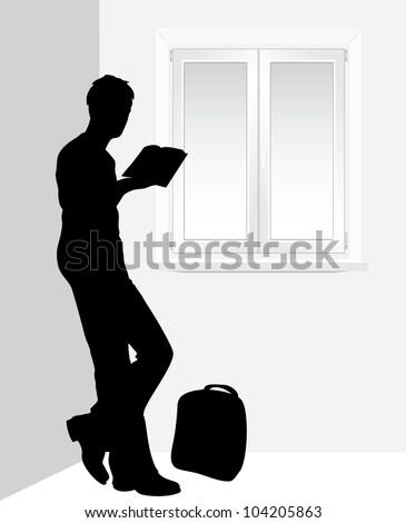 stock-vector-man-reading-a-book-near-the