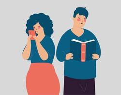 Man reading a book with happiness. Fomo versus Jomo represented by a couple. Worried woman connected on a smartphone. Fear of missing out vs joy of missing out, mental health disorder concept. Vector