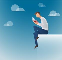 man reading books vector illustration