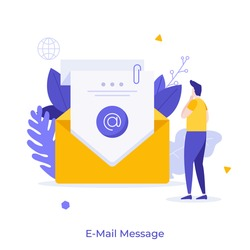 Man reading incoming electronic letter in envelope. Concept of e-mail, internet message, online communication, digital correspondence. Modern flat colorful vector illustration for poster, banner.