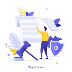 Man reading legal document, shield with copyright symbol, gavel. Concept of digital law, smart contract, electronic licence, rights protection. Modern flat vector illustration for banner, poster.