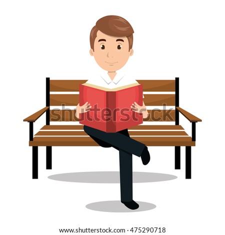man reading textbook icon