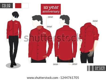 man red shirt shirt long sleeve vector