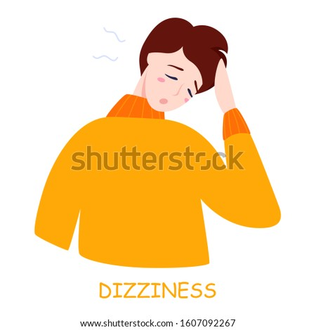 Man reeling with dizziness. Ill guy in a fever. Flu or cold symptom. Idea of illness and healthcare. Flat vector illustration
