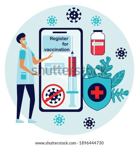 Man registered on smartphone  for vaccination. Online registration button  on website or application. Get vaccine. Coronavirus vaccine vector illustration. Syringe injection tool. Stockfoto ©