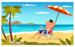 Man relaxing on beach flat color illustration. Boy under beach umbrella on deck chair. Summer vacation. Male at sea resort cartoon character. Isolated vector
