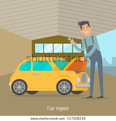 man repair car car service