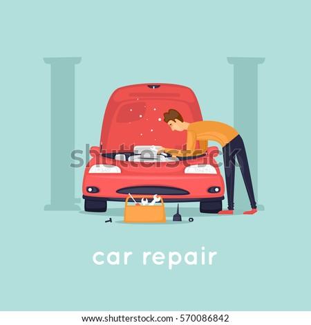 man repair car shop flat