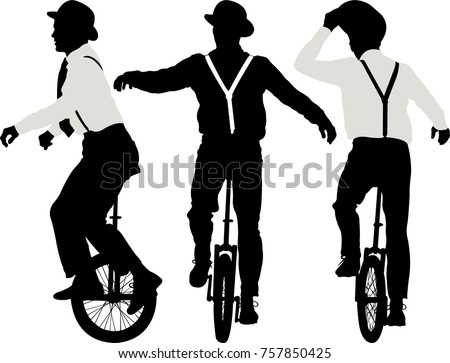 man riding a unicycle   vector