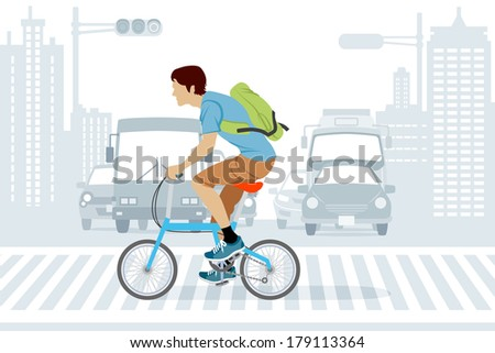man riding bicycle in rush hour