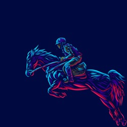 Man riding horse. Pop Art line portrait logo.  Colorful design with dark background. Abstract vector illustration. Isolated black background for t-shirt, poster, clothing, merch, apparel, badge design