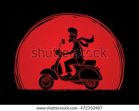 man riding scooter designed on