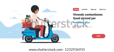 man riding scooter with shopping basket full of grocery fresh food products delivery concept isolated flat horizontal copy space vector illustration