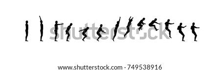 Man running and jumping sequence vector illustration frames collection. Acrobatic sport animation shapes