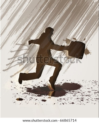man running in the rain