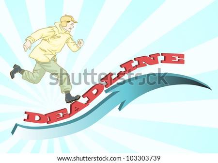 man running on deadline arrow