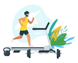 Man running on motorized treadmill flat vector illustration. Sportive man on electric training machine cartoon character. Fitness club, gym tool. Weight lifting equipment isolated design element