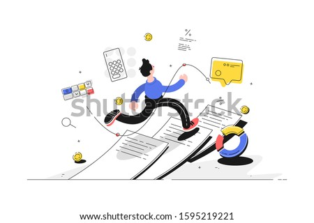 Man running on paper vector illustration. Guy escaping out paperwork flat style design. Diagram, calculator, message and coins icons. Finance and statistics concept Сток-фото ©