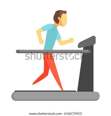 Man running on thread mill. Colorful cartoon character stock photo