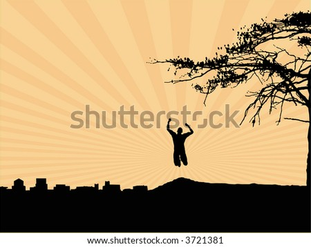 Man running up a hill away from an industrial backdrop - stock vector